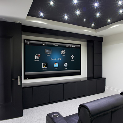 home theater with custom ceiling